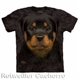 Polo Rotweiller Cachorro Estampado Realista - Polo Americano