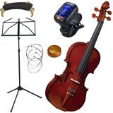 Kit Violino Eagle Ve441 Partitura Afin Cordas Breu Espaleira