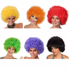Pelucas Afro Multicolor Cotillon Luminoso Carioca Gorro Fies
