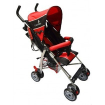 Carrinho De Bebê Passeio Slim Guarda Chuva - Vermelho Preto
