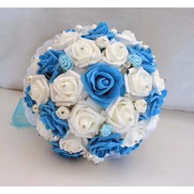 Ramo Novia Blanco Azul Turquesa Xv Años Cristales 25cm