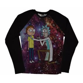 Blusa Camiseta Manga Longa Raglan Geek Rick And Morty Series