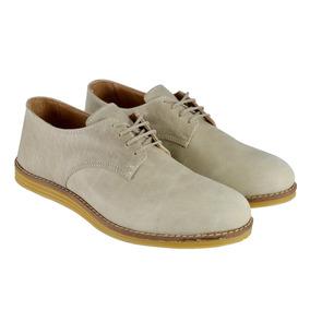 Zapato De Hombre Cuero Con Cordones Beige