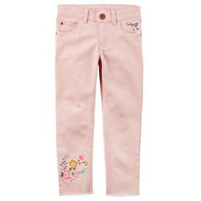 Jeans Carters Rosado De Niñas C/detalle Floreado Talle 4 Y 5