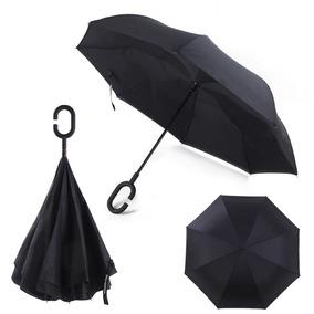 Paraguas Invertido Manos Libres Bi Capa Contra Viento Negro
