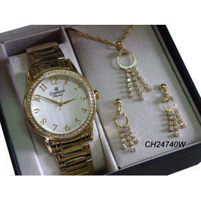 Relógio Ch24740w Champion Dourado Feminino + Kit Colar Brinc