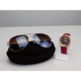 Kit Óculos De Sol Aviador + Relógio Dourado Atacado Revenda fdcfc05743