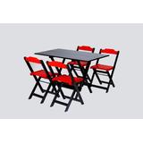 Jogo Mesa 1,20x0,70 Dobravel 4 Cadeira Restaurante Sorveteri