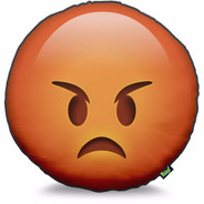 Almofada Emoticon Emoji Bravo Grande 40x40 Decoração Nerd