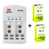 Kit Carregador Pilha Aaa Aa 9v Cp50 + 2 Bateria Flex Recarr