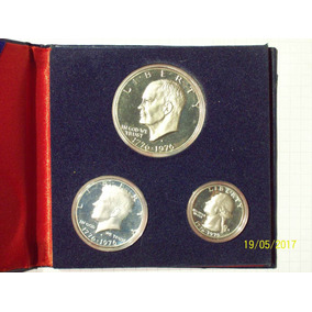 Estados Unidos Colección 3 Monedas Plata Bicentenario En Dis