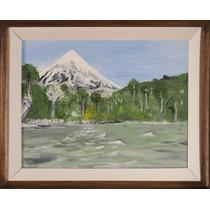 Pintura Al Óleo 35x45 - Volcán Lanín Desde El Huechulafquen