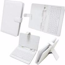 Lindo Case Capa Teclado Embutido Couro Branco Tablet 7 Pol