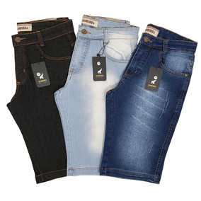 Kit Com 3 Bermudas Shorts Jeans Masculinas Slim Com Elastano