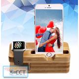 Base/dock Cargador Batería Para Smartwatch,madera De Bambú.