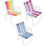 Kit 3 Cadeiras Praia Alumínio Dobrável Piscina Sol Pesca Mar