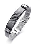 Pulseira Bracelete Masculino Aço Inox 316l Oração Pai Nosso