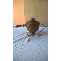 Antigua Estufa De Alcohol En Laton Bronce Y Madera
