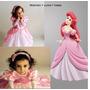 Vestido Festa Fantasia Princesa Ariel Rosa + Luva + Tiara
