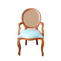 Cadeira De Jantar Medalhão Com Braço E Palha - Wood Prime