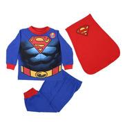 Pijama Superman Músculos 3 Pzs Sudadera Pants Capa Disfraz