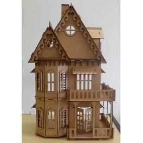 2 Casas De Bonecas Polly Mdf = 1 C6 1 C7 1 Kit 24 Móveis