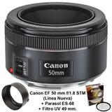 Lente Canon Ef 50mm F/1.8 Stm + Parasol Es-68 + Filtro Uv 49