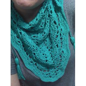 Pashmina Pañuelo Tejido Al Crochet Con Borlas