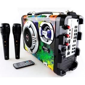 Caixa Som Bluetooth Amplificada Karaokê 2 Microfone Mp3 Fm