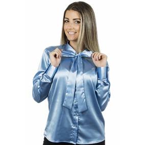 Camisa Gola Laço Aqua - Cetim Com Elastano - Pimenta Rosada