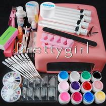 Kit Unhas Gel Acrílica + Cabine Estufa +acessórios Completo