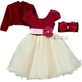 Vestidos De Bebãªs - Vestidos Bordô de Bebê no Mercado Livre Brasil c72181a52140c
