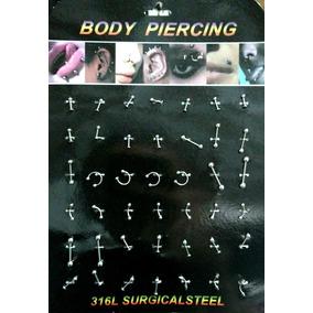 Kit 42 Piercing Aço Cirúrgico Inox Septo Nariz Orelha Língua