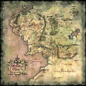 Mapa 90x90cm Terra Media Poster - Senhor Dos Aneis - Hobbit