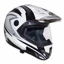 Capacete Yohe Trail Sport Cross Com Viseira Branco E Preto