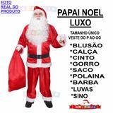 Fantasia De Papai Noel / Roupa Luxo + Sino + Luvas + Barba