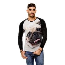 Camiseta Raglan Cachorro Pug Bege Manga Longa