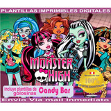 Kit Imprimible Monster High Cumpleaños Decoración Candy Bar