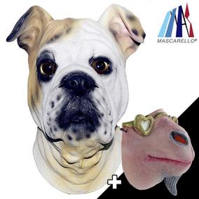 Mascarello Bulldog Inglés Látex Cabeza Máscara... (combo)