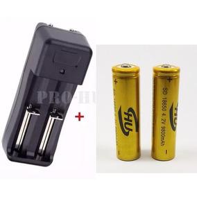 Kit Carregador Duplo +2 Baterias 18650 3.7v 9800mah Gold