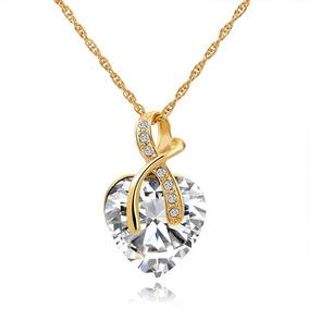 Collar Dama Corazón Cristal Austriaco Joyeria De Oro Color