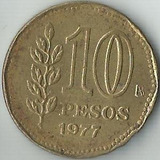 Moeda Argentina 10 Pesos Ano 1977 25mm
