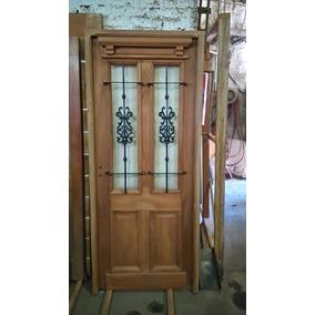Puerta Cedro 80x200 Antigua Con Reja Y Vidrio Extra Porch