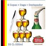 Combo Stella Artois Belgium 33cl-330 6copas+daga+destapador