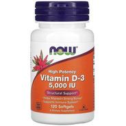 Vitamina D-3 De Alta Potência, Now 5.000 Ui, 120 Caps