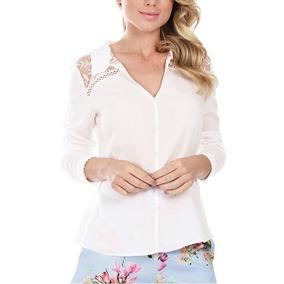 Camisa Renda E Bordados Guipir Off White Averara