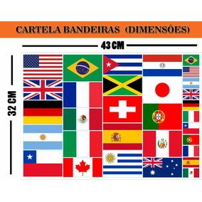 Cartela Com 31 Adesivos Vinil Bandeiras Tamanho 32x43 Cm