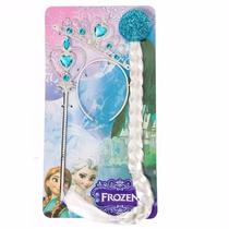 Kit Frozen Da Elsa Com Coroa Trança E Varinha E Luvas Brinde