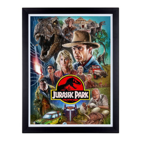 Quadro Retro Desenhado Jurassic Park Moldura Sem Vidro A3