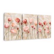 Quadro Flores Tulipas Para Sala Efeito Mármore 60x120 Canvas